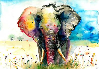 Animals Paintings - The Rainbow Elephant - XXL Format Art Print by Tiberiu Soos