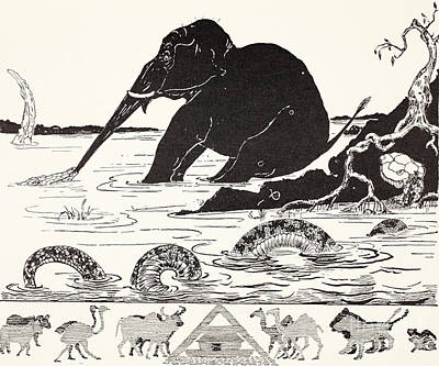 African Animals Drawing - The Elephant's Child Having His Nose Pulled By The Crocodile by Joseph Rudyard Kipling