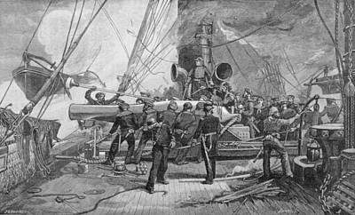 Pivot Photograph - The Eleven-inch Forward Pivot-gun On The Kearsarge In Action, Engraved By John William Evans by Julian Oliver Davidson