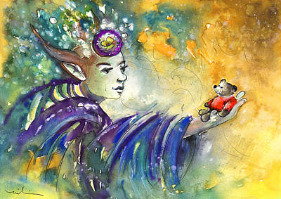 Canary Drawing - The Elf And The Little Bear by Miki De Goodaboom