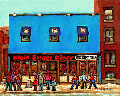 Painting - The Elgin Street Diner Winter City Scenes Paintings Of Ottawa Great Ontario Restaurant Art  by Carole Spandau