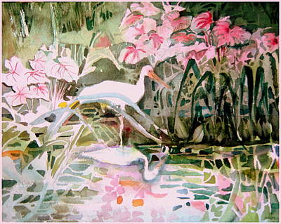 Carolina Duck Painting - The Elusive Egret by Mindy Newman