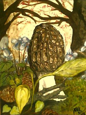 Painting - The Elusive Morel Among Violets by Alexandria Weaselwise Busen