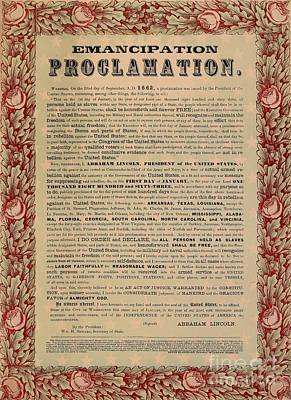 Slaves Mixed Media - The Emancipation Proclamation by American School