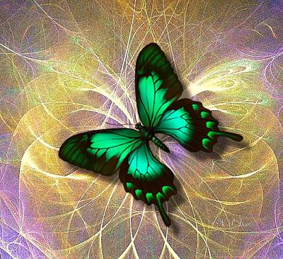 Digital Art - The Emerald Butterfly by Maria Urso