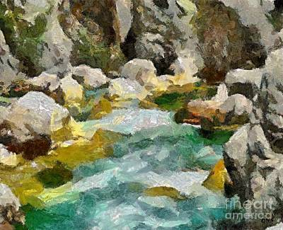 River Rafting Painting - The Emerald River- Soca by Dragica  Micki Fortuna
