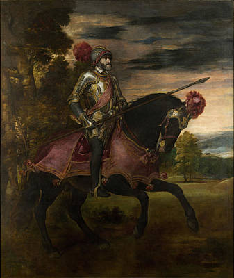Roman Emperor Photograph - The Emperor Charles V 1500-58 On Horseback In Muhlberg, 1548 Oil On Canvas by Titian