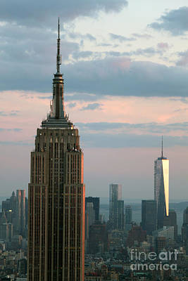 Photograph - The Empire State Building And Freedom Tower by Gregory Dyer