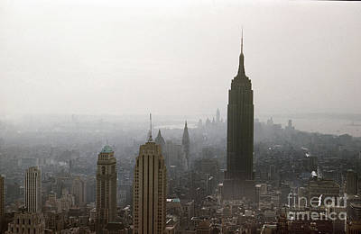 Photograph - The Empire State Building Is Seen From The Top Of The Rock In Rockefeller Center 1957 by California Views Archives Mr Pat Hathaway Archives