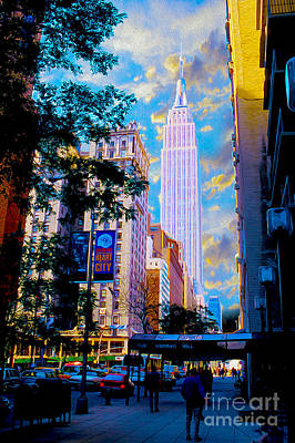 Skyline Mixed Media - The Empire State Building by Jon Neidert