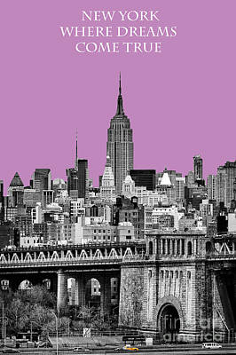 Brilliant Color Photograph - The Empire State Building Pantone African Violet by John Farnan