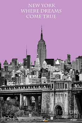 Brilliant Color Photograph - The Empire State Building Pantone African Violet Light by John Farnan