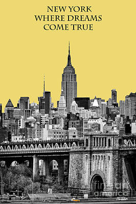 Esb Photograph - The Empire State Building Pantone Lemon by John Farnan