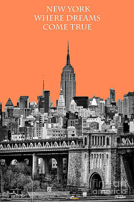 The Empire State Building Pantone Nectarine Art Print by John Farnan