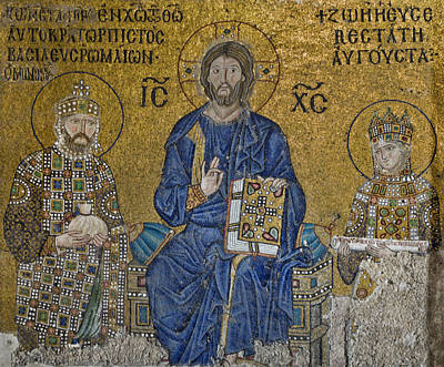 The Empress Zoe Mosaics On The Eastern Wall Of The Southern Gallery In Hagia Sophia  Art Print by Ayhan Altun