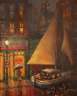 Rainy Night Painting - The Enchanted Voyage by Tom Shropshire