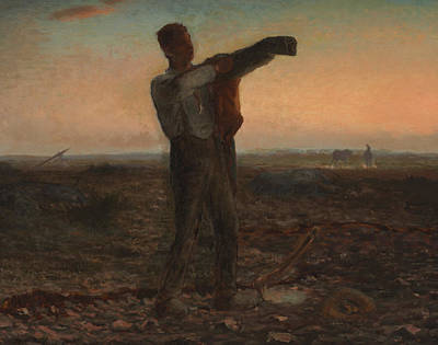 The End Of The Day Effect Of Evening  Art Print by Jean-Francois Millet