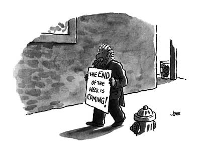 Sign Language Drawing - The End Of The Week Is Coming! by John Jonik