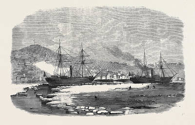 The English And Newfoundland Mail Vessels Making Their Way Art Print by English School