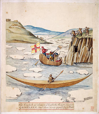 Canoe Photograph - The English Arrive In Greenland by British Library