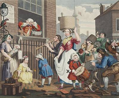 Satire Wall Art - Drawing - The Enraged Musician, Illustration by William Hogarth