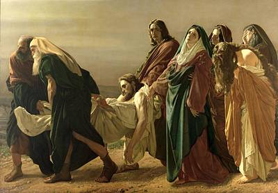 Baptist Painting - The Entombment, 1883 by Antonio Ciseri