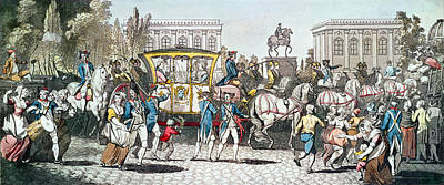 Uprising Photograph - The Entry Of Louis Xvi 1754-93 Into Paris, 6th October 1789 Coloured Engraving by English School