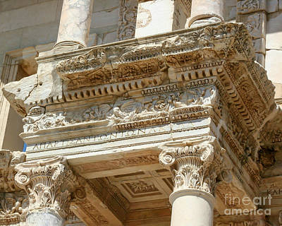 Photograph - The Ephesus Library Detail by Sabrina L Ryan