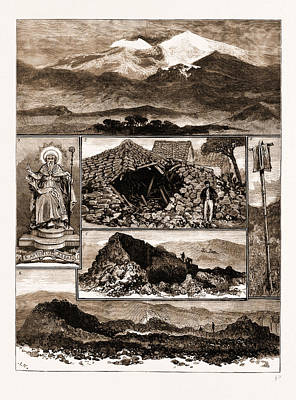 Sicily Drawing - The Eruption Of Mount Etna, Sicily, 1883 1. View by Litz Collection