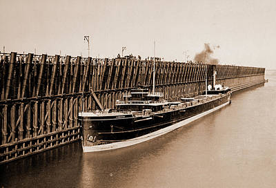 Dock Drawing - The Escanaba Ore Docks, Ore Industry, United States by Litz Collection