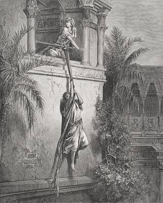 Escape Drawing - The Escape Of David Through The Window by Gustave Dore