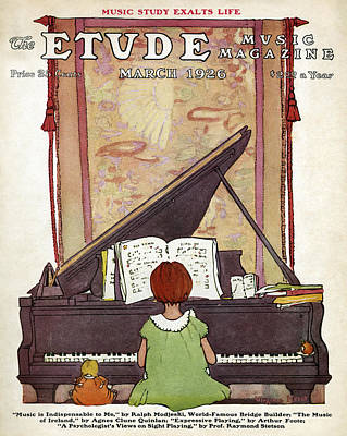 Girl Playing Piano Painting - The Etude Music Magazine by Granger