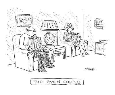 Book Title Drawing - The Even Couple by Robert Mankoff