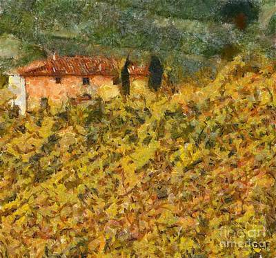 Chianti Hills Painting - The Evening Before Grape Harvest by Dragica  Micki Fortuna