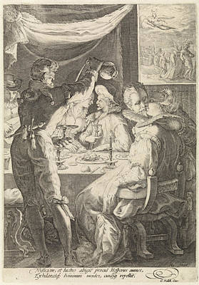 Table Wine Drawing - The Evening, Jan Saenredam, Cornelius Schonaeus by Jan Saenredam And Cornelius Schonaeus And Gerard Valck