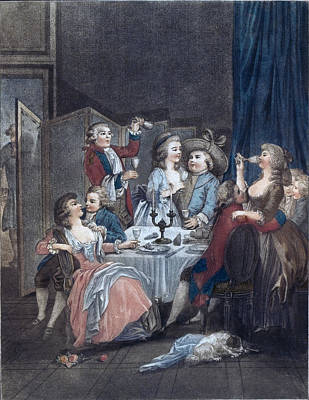The Evening Meal, Men, Women, Food And Drink, Liszt Gourmet Art Print by Huet, Jean-baptiste Marie (1745?1811), French