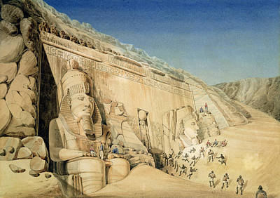 Hieroglyphics Painting - The Excavation Of The Great Temple Of Ramesses II by Louis MA Linant de Bellefonds