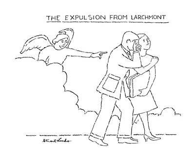 Man And Woman Drawing - The Expulsion From Larchmont by Stuart Leeds