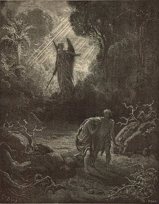 Yahweh Drawing - The Expulsion From The Garden by Antique Engravings