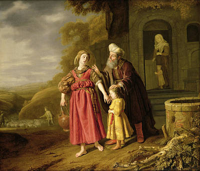 Genesis Photograph - The Expulsion Of Hagar And Ishmael, C.1644 Oil On Canvas by Victors