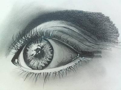 Hyperrealism Drawing - The Eye by Merve  Saglar