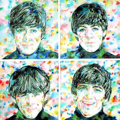 Paul Mccartney Portrait Painting - the FAB FOUR - watercolor portrait by Fabrizio Cassetta