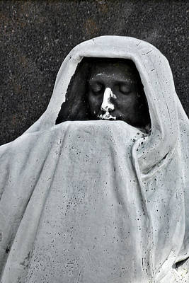 Menacing Photograph - The Face Of Death - Graceland Cemetery Chicago by Christine Till