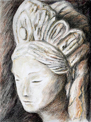 Drawing - The Face Of Quan Yin by Danuta Bennett