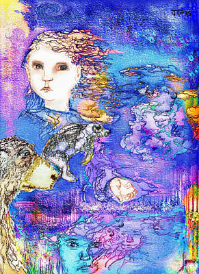 Sanskrit Mixed Media - The Face Of The Night by Cynthia  Richards