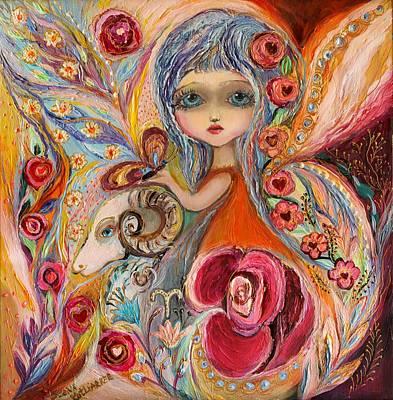Zodiac Painting - The Fairies Of Zodiac Series - Aries by Elena Kotliarker
