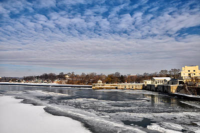 The Fairmount Waterworks And Boathouse Row  In Winter Art Print