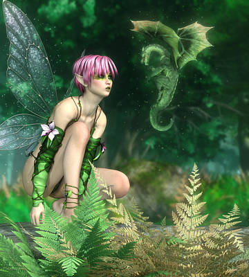 Faries Digital Art - The Fairy And The Dragon by Melissa Krauss