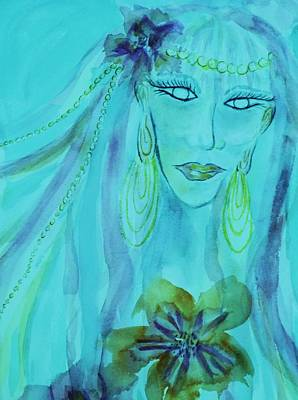 Painting - The Fairy Avatar - Close-up Aqua by Ellen Levinson