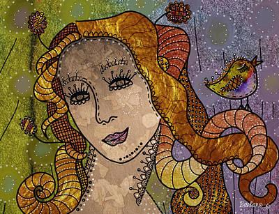 Art Print featuring the digital art The Fairy Godmother by Barbara Orenya